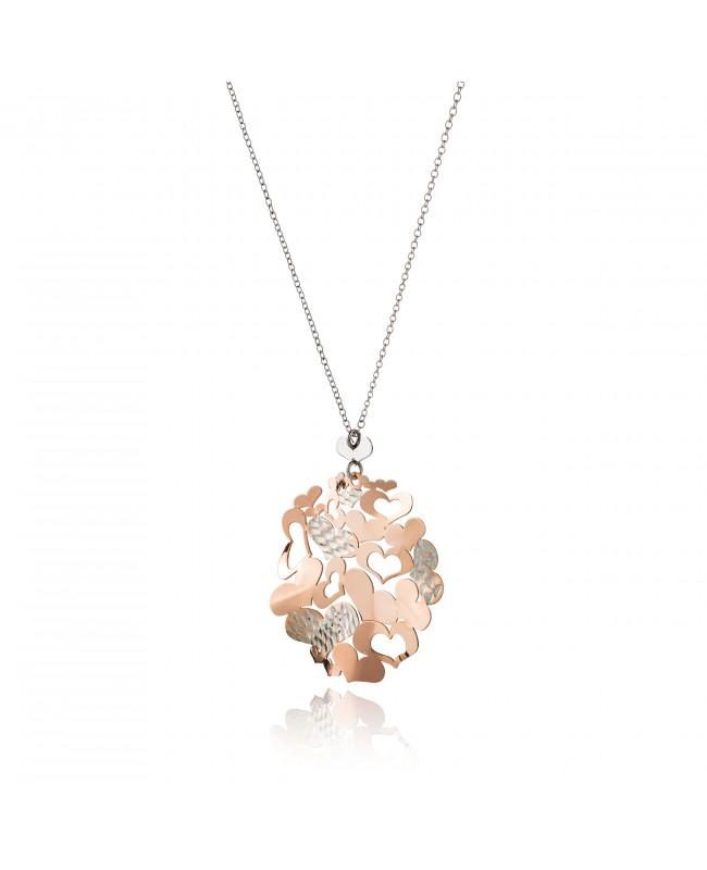 Naszyjnik srebrny serca różowe złoto