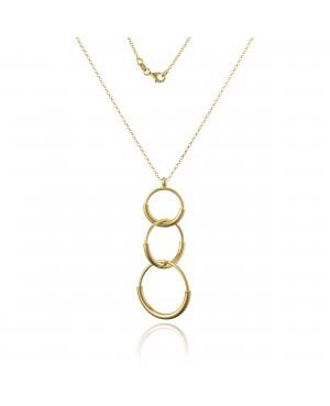 Naszyjnik srebrny złocony - trzy koła