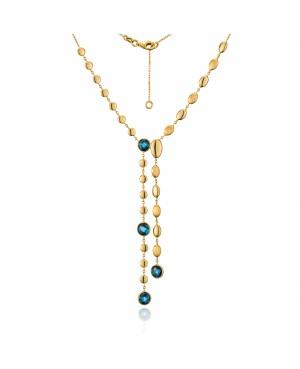Naszyjnik złoty z topazami London Blue