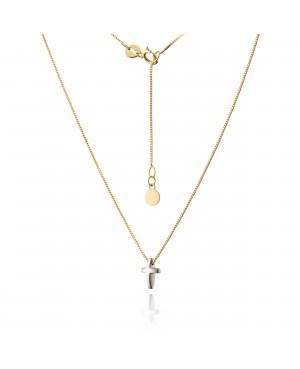 Naszyjnik złoty z krzyżykiem z białego złota