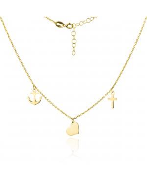Naszyjnik złoty - serce, krzyż, kotwica