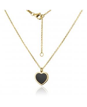 Naszyjnik złoty - serce z onyksem
