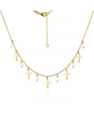Naszyjnik złoty - krzyżyki z perełkami
