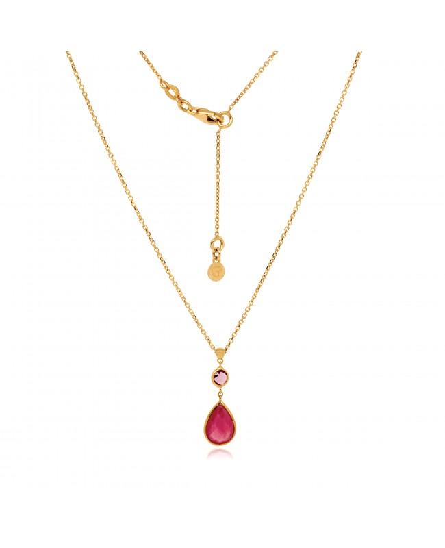 Naszyjnik złoty z rubinem i ametystem
