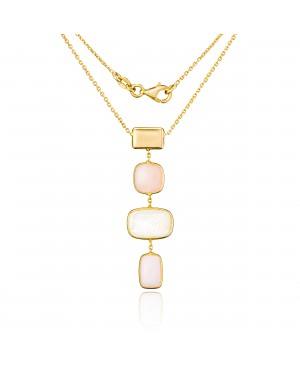 Naszyjnik złoty z masą perłową i różowym kwarcem