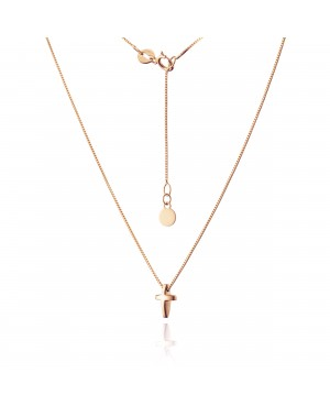 Naszyjnik złoty z krzyżykiem z różowego złota