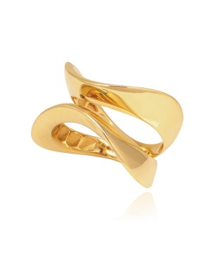 Pierścionek z zółtego złota - wave duo