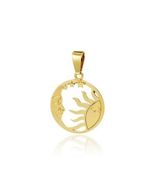 Zawieszka złota - słońce i księżyc