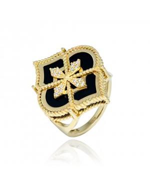 Pierścionek Złoty z onyksem