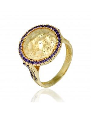 Pierścionek Złoty - Lavender Eye