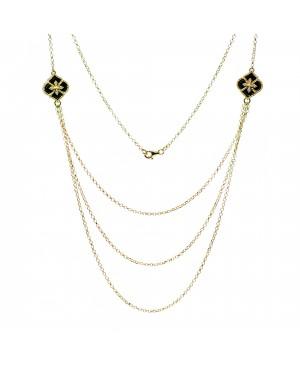Naszyjnik złoty z onyksem - princess flower